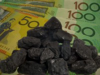 Coal and Australian banknotes