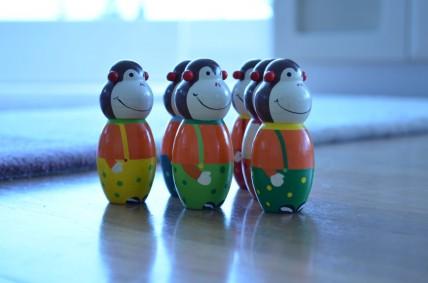 Monkey toys arranged in a pattern